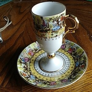 Antique courting teacup saucer